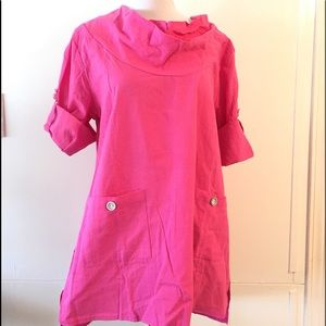 Pink Flowy Tunic Top Boho India Cotton Misook XL